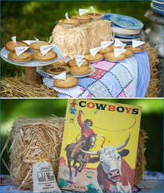 REAL PARTIES: Cowboy Baby Shower. Has cute ideas to translate to Toy Story. Bandanas bang for buck. PS...Red, green, Bright Blue, and yellow Toy story color pallet.