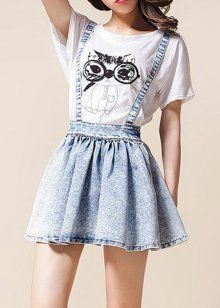High-Waisted Bow Tie Embellished Bleach Wash Women's Suspender Skirt… this lowkey sounds like a wish name Skirt Outfits, Dress Skirt, Cool Outfits, Summer Outfits, Teen Fashion, Korean Fashion, Fashion Outfits, Womens Fashion, Suspenders For Women