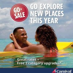 Get ready to go and explore new places with Carnival Cruise Lines! Book your next #cruise by March 29, 2015 and you'll receive great rates plus free 2 category upgrades on select sailings through December 2015. Book today and take advantage of these incredible savings! Contact Pirate n' Princess Vacations for a free no obligation quote http://www.piratenprincessvacations.com/request-a-quote.html