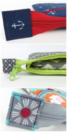 How to sew the perfect zipper tab. These fabric stops on the end of exposed zipp. Comment coudre l Zipper Bags, Zipper Pouch, Zippered Pouch Tutorial, Zipper Tutorial, Sewing Hacks, Sewing Tutorials, Sewing Tips, Sewing Ideas, Leftover Fabric