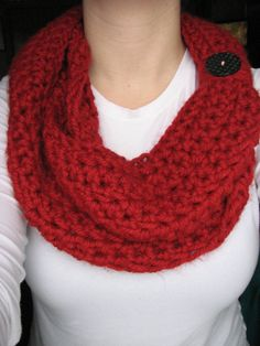 Red Crochet Infinity Button Scarf