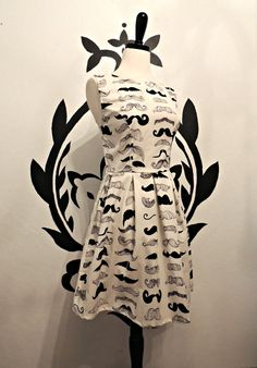 Mustache Print Pleated Dress - Quirky Whimsical Dress for Mustache Lovers.