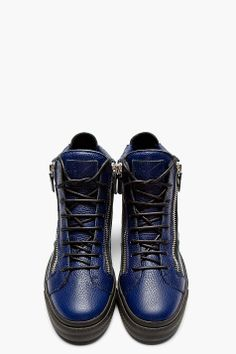 GIUSEPPE ZANOTTI Blue Grained Leather High-Top Sneakers
