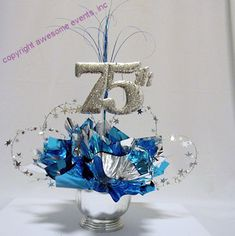 75th Cut Out Used In A DIY Anniversary Centerpiece Kit Order At