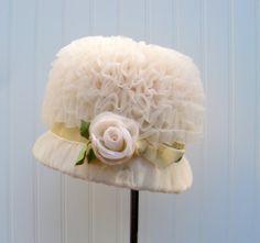 vintage women's hat 1960's blush ruffle by vintageclothingstore, $75.00