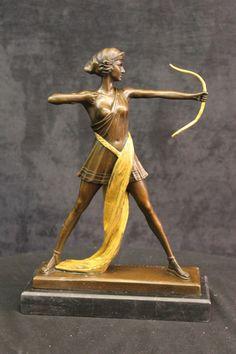 ARTEMIS THE HUNTRESS GREEK ROMAN GODDESS 100% BRONZE STATUE ON MARBLE