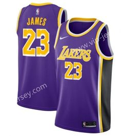 f4e65823d NBA Los Angeles lakers Round Collar Purple  23 (JAMES) Jersey