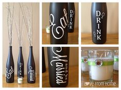Wine Bottle Centerpieces by LoveFromHome7, via Flickr/ bridal shower
