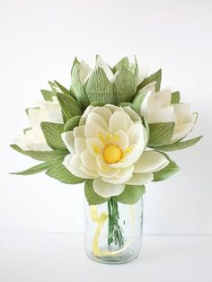 crepe paper waterlily arrangement, designed and handcrafted by paPetal crepe paper flowers