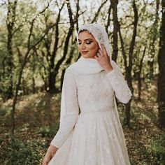 Stunning Muslim bride wears custom long sleeve beaded wedding dress with sparkly hijab for a fall outdoor wedding. Popular Wedding Dresses, Bridal Wedding Dresses, Muslim Brides, Classic Wedding Dress, Dress Collection, Ball Gowns, Romantic, Fall, Long Sleeve