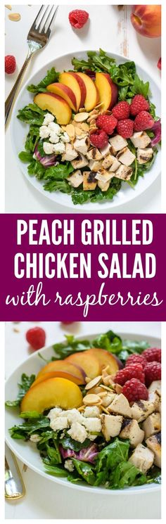 GORGEOUS. Peach Salad with Grilled Chicken, Raspberries, and Honey Balsamic Vinaigrette. The perfect summer salad! Recipe at wellplated.com @wellplated