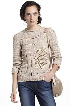 Slanted Openwork Pullover - green color.. if anyone has a M in either Petite or regular... please let me know.. i WANT it :( :( just a few seconds late in hitting the buy tab :(( #anthropologie