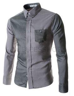 (AL537-GRAY) Mens Slim Stretchy 2 Tone Pocket Long Sleeve Shirts