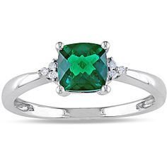 @Overstock - Created emerald and diamond accent ring10-karat white gold jewelryTreatment Guidehttp://www.overstock.com/Jewelry-Watches/Miadora-10k-White-Gold-1ct-TGW-Created-Emerald-and-Diamond-Accent-Ring/6695721/product.html?CID=214117 $157.49