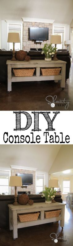 LOVE this $80 Pottery Barn inspired console table behind the couch! I want one!.