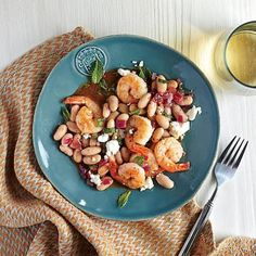 Roasted Shrimp with White Beans and Feta Recipe | CookingLight.com