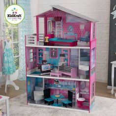 KidKraft Breanna Wooden Dollhouse with 12 Pieces of Furniture for 18 inch Dolls, Multicolor