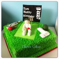 Cricket cake Cricket Birthday Cake, Cricket Theme Cake, Nautical Birthday Cakes, Sport Cakes, Happy Birthday Dear, 70th Birthday Parties, Character Cakes, Novelty Cakes, Cakes For Boys
