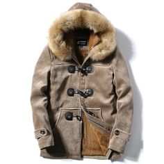64.76$  Buy here - http://dizdw.justgood.pw/go.php?t=200475807 - Flocking Faux Fur Hooded Toggle Coat