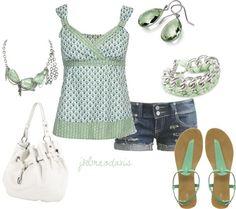 """Green & White"" by jklmnodavis on Polyvore"