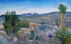 Mojave Desert With Mt San Jacinto California Usa 2001 Painting. San Jacinto California, California Usa, Mojave Desert, Cape Town South Africa, Live In The Now, Oil On Canvas, Deserts, Around The Worlds, Artwork