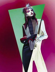 Molly Bair wear one-pieces pose on Vogue Italia Magazine September 2015 photoshoot