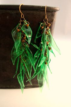 Green Upcycled Plastic Bottle Dangle by funkychicUPCYCLING on Etsy, $24.00