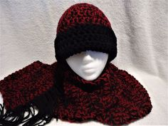 New Winter Ski Hat & Scarf Set Handmade Crochet Black & Burgundy THICK #Handmade #WinterHatScarf #Winter