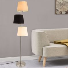lux.pro Stehlampe Standleuchte Lampe Metall Chrom ® Stehleuchte H:170cm