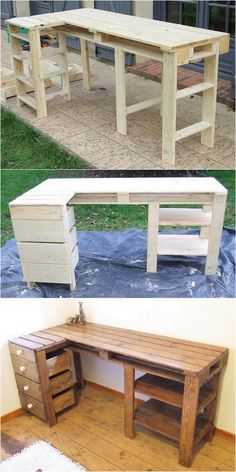 Easy and Fresh DIY Wood Pallet Ideas The fantastic pallet counter idea is shown . Easy and Fresh DIY Wood Pallet Ideas The fantastic pallet counter idea is shown below to you This f Diy Wood Pallet, Pallet Ideas Easy, Wooden Pallet Projects, Wooden Pallet Furniture, Pallet Crafts, Wood Pallets, Diy Pallet Table, Pallet Desk, Pallet Furniture Designs