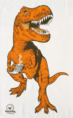 combines the king of the dinosaurs with the queen of hot beverages. We're just not quite sure how he's going to drink his tea with those little arms... bless him!