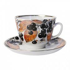 Russian Imperial Lomonosov Porcelain tea cup & saucer Chokeberry
