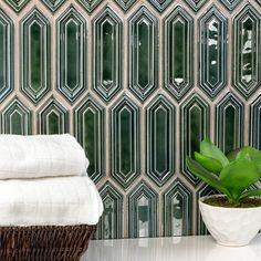 Ivy Hill Tile Oracle Capri Hexagon x Ceramic Mosaic Tile in Green Hexagon Tiles, Marble Mosaic Tiles, Ivy Hill Tile, Porcelain Mosaic Tile, Ceramic Tiles, Glass Tile, Green Tile, Handcrafted Tile, Ceramic Mosaic Tile