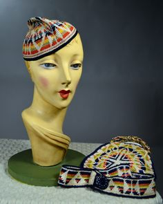 THREE PIECE SET - 1930's VINTAGE WOMEN'S POLYCHROME HAND KNIT SKULL CAP HANDBAG AND BELT - ETHNIC TYPE GEOMETRIC PATTERN.  Available for sale at rpvintage.com.