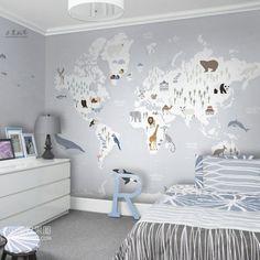 Soft Color World Map Nursery Wallpaper Wall Mural, World Map with Cartoon Animals Ocean Animals Kids Children Wall Mural  Animals Mural