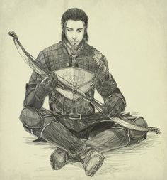 Dragon Age Awakening's Nathaniel Howe sits with his ancestral bow. ~Redemption by Nazgullow on deviantART