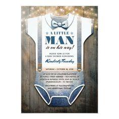 Little Man Baby Shower Invitation Baby Shower Flowers, Floral Baby Shower, Baby Shower Cards, Baby Boy Shower, Baby Showers, Rustic Invitations, Baby Shower Invitations, Invites, Pregnancy Gifts