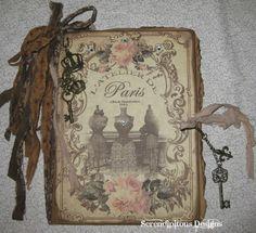 Art journal inspiration. Paris. Altered Composition Book Journal http://www.zibbet.com/Debbie629