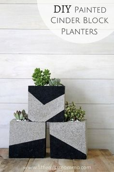 DIY Cinder Block Planters. Perfect for baby shower center pieces.