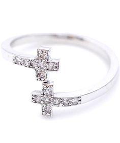 Tiny Sideways Cross Ring