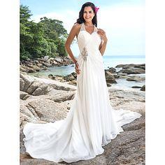 vaina / v-cuello capilla de tren vestido de boda de la gasa de la columna - EUR € 128.93