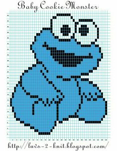 Baby Knitting Patterns Sesame Street Baby Cookie Monster pattern By Crochet Pixel, Graph Crochet, Crochet Diy, Crochet Cross, Beaded Cross Stitch, Cross Stitch Baby, Cross Stitch Patterns, Knitting Charts, Baby Knitting Patterns