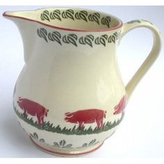 BRIXTON POTTERY CHINA SPONGEWARE JUG 150ml. - PIG