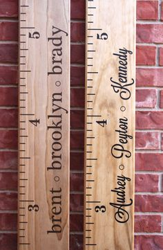 Growth Chart Ruler Custom Personalization Decal - For the Side - Individual Names. $8.00, via Etsy.
