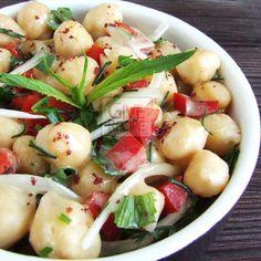 Chickpea salad with tahini dressing | giverecipe.com | #chickpeas #salad #tahini #vegan