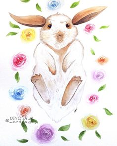 """Humphrey"", watercolor/ink, 11"" x 15""  He is just so squishy, I love it 😆  --------------------------------------  #art #artgallery #traditionalart #painting #artforsale #floral #spring #springvibes #flowers #happy #cute #fun #rabbit #bunny #watercolor #ink #illustration #🐇 #ObscureTheDinosaur  #DinosaurEndeavors   #CreatorsLane #MakersVillage #DailyArts #psimadethis #midwestmade #shopsmall #makersgonnamake #homedecor #artsharing"