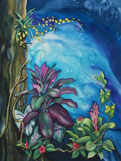 """Fairy Garden 2"", 48 x 32 inches, silk painting by Pamela Glose.  See her monthly blog for silk painting tips at www.MySilkArt.com"