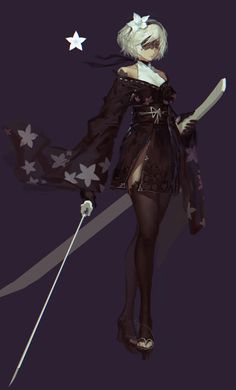Game Character, Character Concept, Concept Art, Character Design, Female Characters, Anime Characters, Katana Girl, Drakengard Nier, Accel World