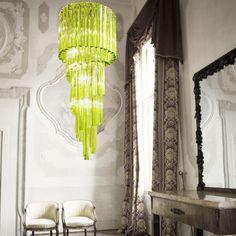 Italian Furniture Design, Unique Furniture, Glass Chandelier, Modern Chandelier, Chandeliers, Colorful Interior Design, Colorful Interiors, Lustre Design, Luminaire Design