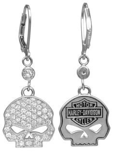 Harley-Davidson Sterling Silver and White CZ Bling Willie G Skull Earrings Sterling Silver Officially Licensed Harley-Davidson Product by MOD Jewelry Harley Davidson Posters, Harley Davidson Jewelry, Harley Davidson Bikes, Skull Earrings, Skull Jewelry, Jewlery, Lady Biker, Biker Girl, Skull Fashion